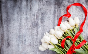 Picture flowers, bouquet, tape, tulips, white, white, flowers, tulips, ribbon