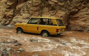 Picture river, stones, stream, Land Rover, Range Rover, 1970, 4x4, SUV