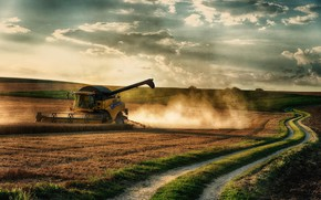 Wallpaper road, field, the harvest, harvester
