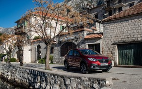 Picture road, auto, the building, Renault, Logan, Burgundy, Stepway