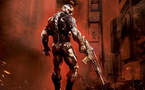 Picture weapons, The city, fighter, Crysis 2, nanosuit, crysis 2, Crisis, Crytek