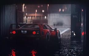 Picture Red, Auto, Machine, Rain, Ferrari, F40, Need for Speed, Supercar, Rendering, Ferrari F40, Game Art, …