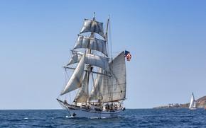 Picture sea, ship, sailboat, flag, sails
