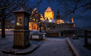 Picture winter, snow, castle, Switzerland, night city, Switzerland, weather station, Oberhofen Castle, Oberhofen Castle, Oberhofen am …