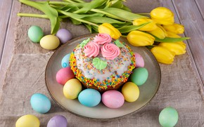 Picture eggs, Easter, tulips, cake