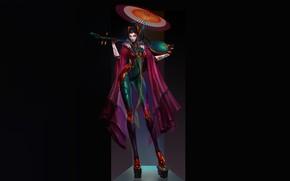 Picture Girl, Fantasy, Art, Music, Style, Umbrella, Background, Illustration, Minimalism, Memoirs of a Geisha, Cyberpunk, Character, …