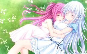 Picture girls, meadow, hugs