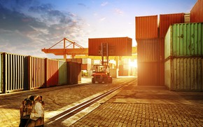Picture The sun, Port, Technique, Container, Container terminal, Forklift