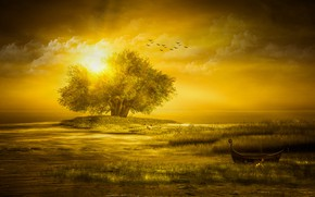Picture the sky, grass, the sun, clouds, rays, light, landscape, sunset, birds, nature, rendering, tree, shore, …