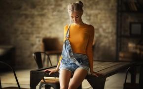 Wallpaper girl, pose, table, shorts, jumpsuit, Katerina Shiryaeva, Anastasia Barmina