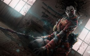 Picture katana, geisha, zombies, grin, horror, zombie, Japanese clothing, blood, in the dark, blood spatter, Dead …