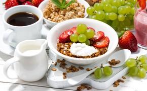 Picture berries, coffee, cream, strawberry, grapes, fruit, yogurt, granola