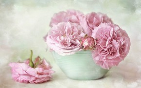 Picture flowers, bouquet, bowl, art, pot, pink, still life, painting, light background, peonies, composition, bowl