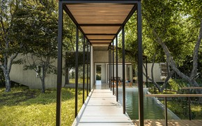 Picture grass, trees, pool, gallery, architecture