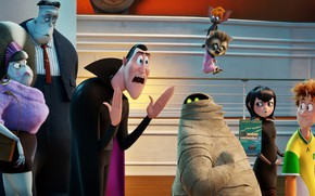 Picture family, friends, characters, Dracula, Hotel Transylvania 3, Monsters on vacation 3 : the Sea is …