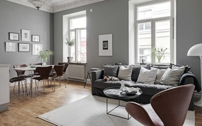 Picture interior, living room, dining room, Scandinavian style, home in grey