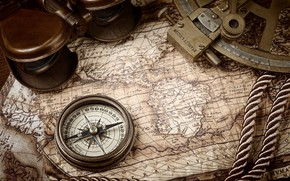 Picture rope, compass, old maps, nautical navigation tools, Kompass, marine navigation, old treasure maps