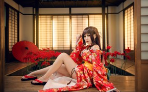 Picture look, girl, light, flowers, red, face, sexy, pose, style, background, room, red, feet, interior, umbrella, ...