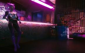 Picture Girl, Neon, Bar, Neon, Cyberpunk 2077, Rascal, Cyberpunk 2077, Night city 2077