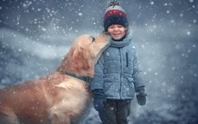 Picture winter, snow, animal, dog, child, dog, Marianne Smolin