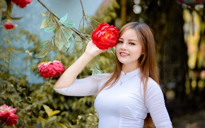 Picture flower, pose, smile, model