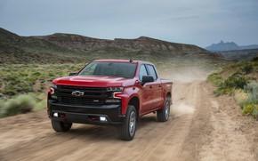 Picture red, dust, Chevrolet, pickup, Silverado, Z71, Trail Boss, 2019, Silverado LT