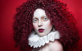 Picture look, girl, face, style, hair, portrait, makeup, collar, curls, red background