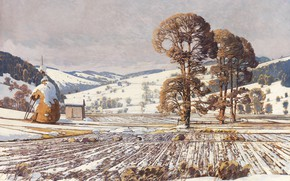 Picture 1920, Austrian painter, Austrian painter, oil on canvas, Wechselgebirge in early spring, Exchange mountains in …