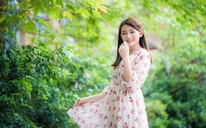 Picture girl, smile, Park, dress, Asian, cutie, bokeh