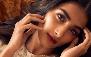 Picture girl, eyes, smile, beautiful, model, lips, face, hair, indian, actress, bollywood, makeup, Pooja hegde