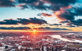 Picture the city, morning, Lithuania, Kaunas
