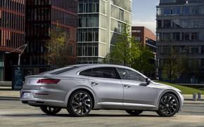 Picture the city, street, Volkswagen, 2018, Elegance, liftback, 2017, Arteon, gray-silver