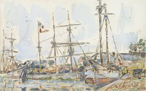 Picture figure, ship, watercolor, 1929, Paul Signac, Paul Signac, The Port Of Saint-Servan