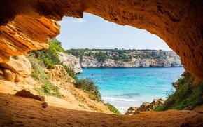 Picture sea, shore, arch, the grotto, Mallorca, park Mondrago