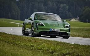Picture grass, coupe, Porsche, Turbo S, 2020, Taycan