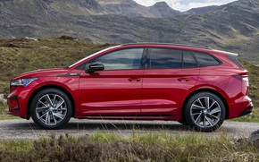 Picture mountains, red, space, crossover, exterior, Skoda, Skoda Enyaq iV Sportline