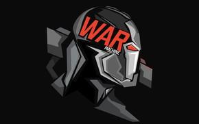 Picture graphics, costume, black background, comic, MARVEL, War Machine