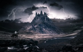 Picture Mountain, Lightning, Clouds, The building, Zipper, Landscape, Architecture, Art, Art, Landscape, Mountain, Knight, Fiction, Fiction, …