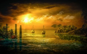 Picture the sky, the sun, clouds, landscape, sunset, clouds, nature, reflection, rendering, tree, rocks, posts, boats, …
