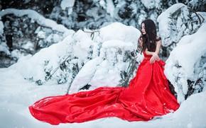Picture winter, girl, snow, pose, photo, model, dress, Sergey Shatskov