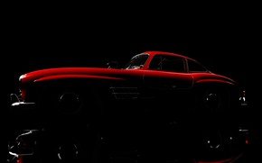 Picture red, silhouette, car, Mercedes Benz 300SL