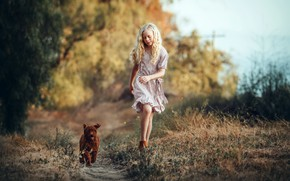 Picture dog, girl, walk