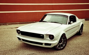 Picture Ford Mustang, White, Tuning, Vehicle