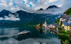 Picture clouds, mountains, lake, Austria, Hallstatt