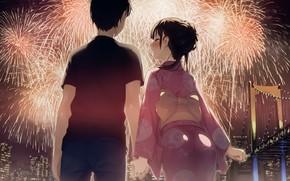 Picture girl, night, salute, anime, art, guy, festival, kantoku