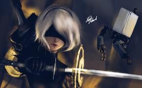 Picture Girl, Figure, Sword, Android, Art, NieR, NieR: Automata, YoRHa No.2 Type B, YoRHa, Kevend Wong, …