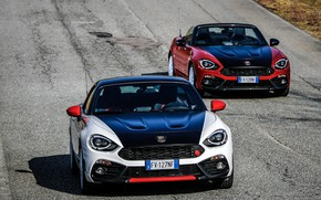 Picture road, asphalt, Roadster, spider, black and white, Abarth, black and red, 124 Spider, 2019, Rally …