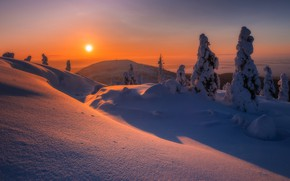 Picture winter, snow, trees, sunset, mountain, the snow, Russia, Murmansk oblast, Mountain Hair