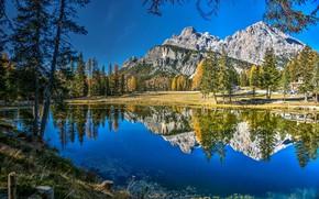 Picture autumn, trees, mountains, lake, reflection, Italy, Italy, The Dolomites, Dolomites, Lake Antorno, Lake of Antorno, …
