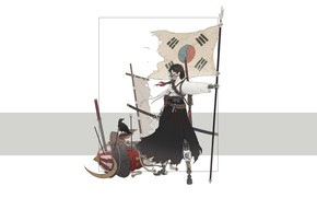 Picture Girl, Minimalism, Style, Flag, Asian, Girl, Sword, Samurai, Art, Art, Asian, South Korea, Korea, Style, …